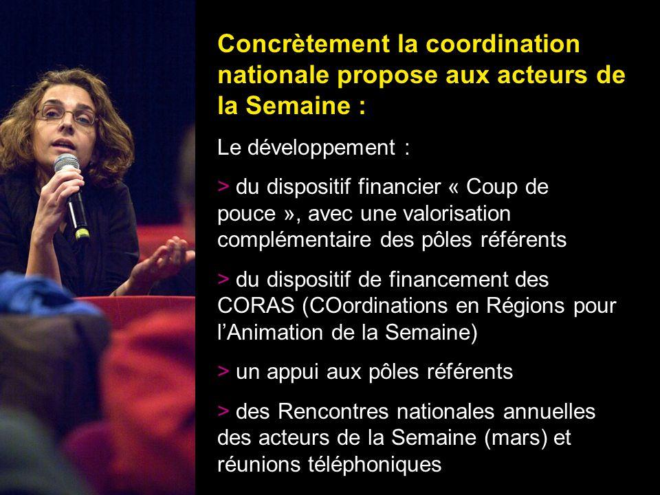 24 Concrètement la coordination nationale propose aux acteurs de la Semaine : Le développement : > du dispositif financier « Coup de pouce », avec une
