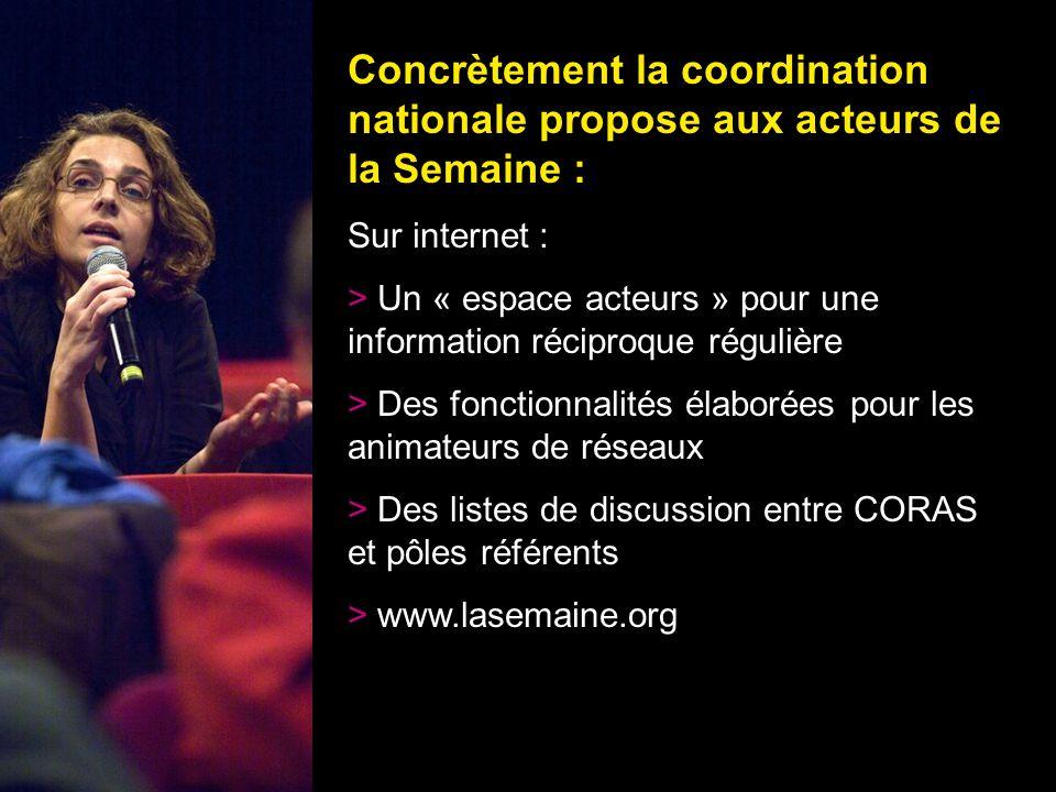 25 Concrètement la coordination nationale propose aux acteurs de la Semaine : Sur internet : > Un « espace acteurs » pour une information réciproque r