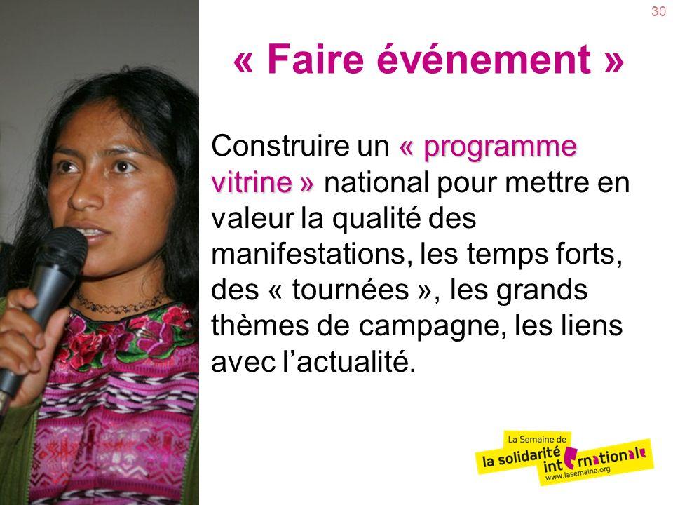 30 « programme vitrine » Construire un « programme vitrine » national pour mettre en valeur la qualité des manifestations, les temps forts, des « tournées », les grands thèmes de campagne, les liens avec lactualité.