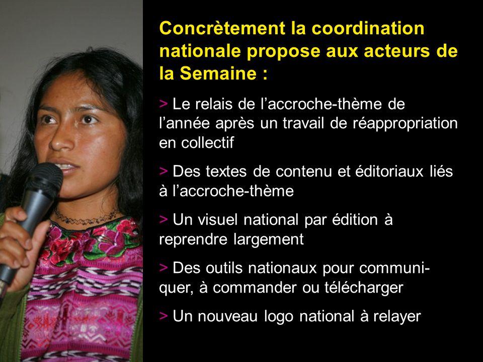 32 Concrètement la coordination nationale propose aux acteurs de la Semaine : > Le relais de laccroche-thème de lannée après un travail de réappropria