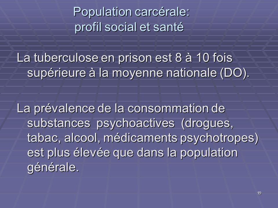 19 Population carcérale: profil social et santé Population carcérale: profil social et santé La tuberculose en prison est 8 à 10 fois supérieure à la