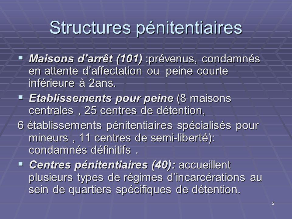 2 Structures pénitentiaires Maisons darrêt (101) :prévenus, condamnés en attente daffectation ou peine courte inférieure à 2ans. Maisons darrêt (101)