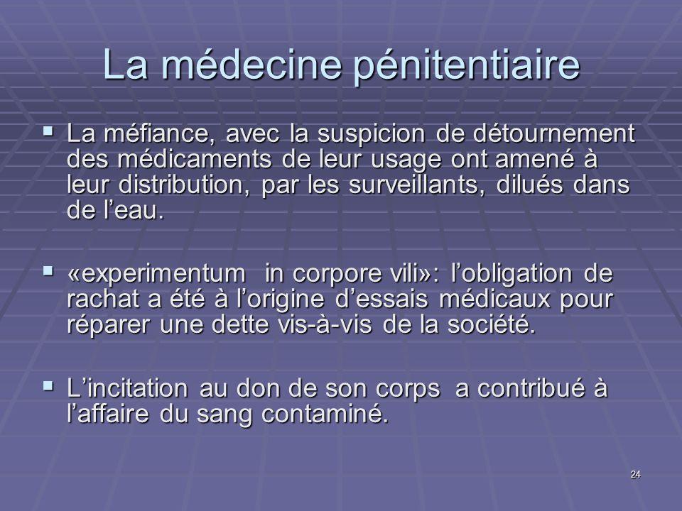 24 La méfiance, avec la suspicion de détournement des médicaments de leur usage ont amené à leur distribution, par les surveillants, dilués dans de le