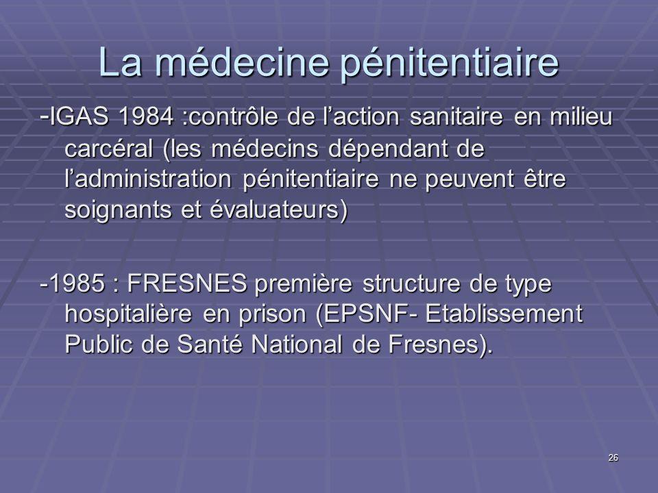 26 La médecine pénitentiaire - IGAS 1984 :contrôle de laction sanitaire en milieu carcéral (les médecins dépendant de ladministration pénitentiaire ne