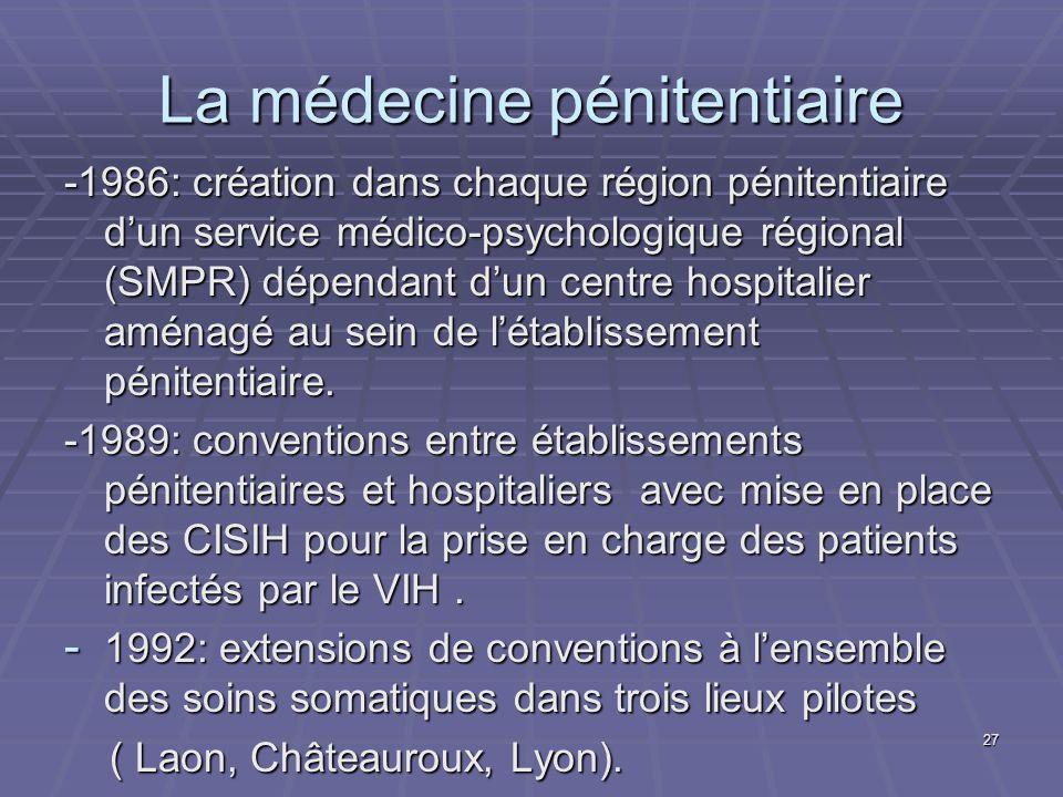 27 La médecine pénitentiaire -1986: création dans chaque région pénitentiaire dun service médico-psychologique régional (SMPR) dépendant dun centre ho