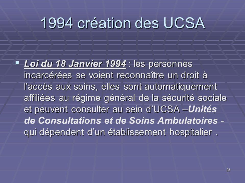 28 1994 création des UCSA Loi du 18 Janvier 1994 : les personnes incarcérées se voient reconnaître un droit à laccès aux soins, elles sont automatique