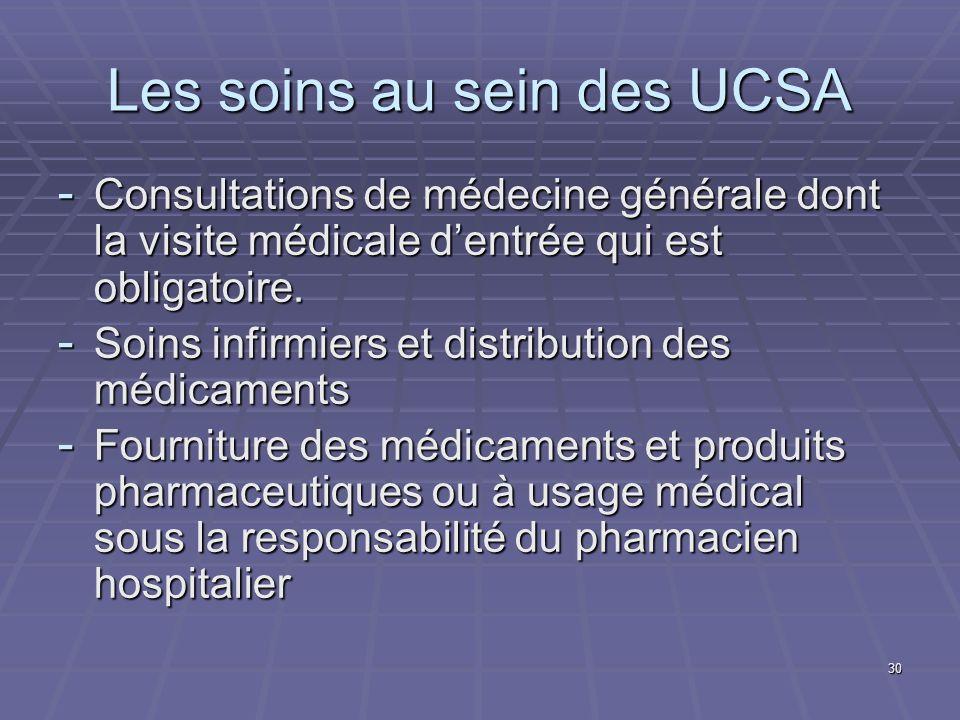 30 Les soins au sein des UCSA - Consultations de médecine générale dont la visite médicale dentrée qui est obligatoire. - Soins infirmiers et distribu