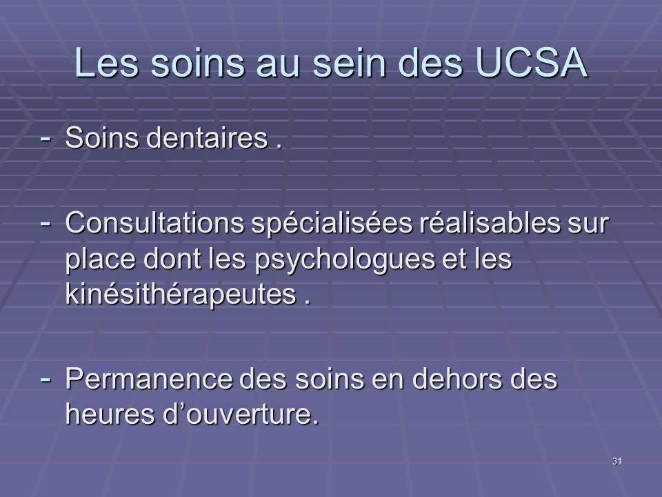 31 Les soins au sein des UCSA - Soins dentaires. - Consultations spécialisées réalisables sur place dont les psychologues et les kinésithérapeutes. -