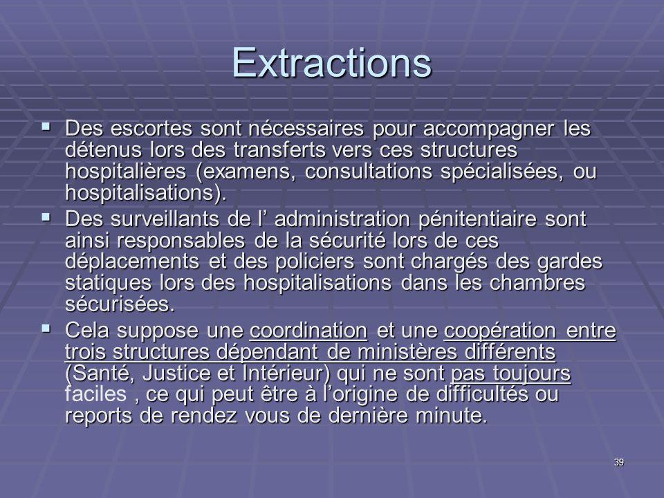 39 Extractions Des escortes sont nécessaires pour accompagner les détenus lors des transferts vers ces structures hospitalières (examens, consultation