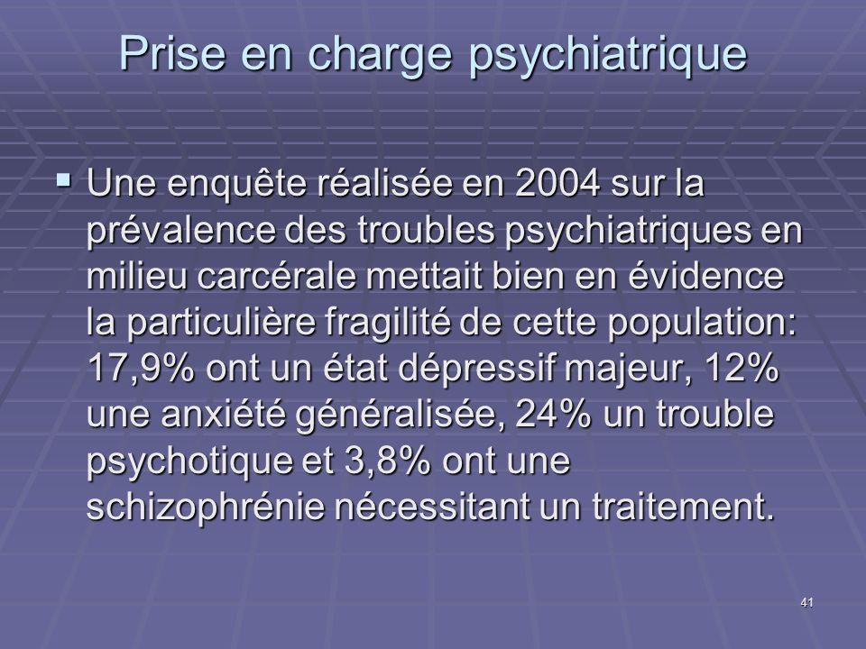 41 Prise en charge psychiatrique Une enquête réalisée en 2004 sur la prévalence des troubles psychiatriques en milieu carcérale mettait bien en éviden