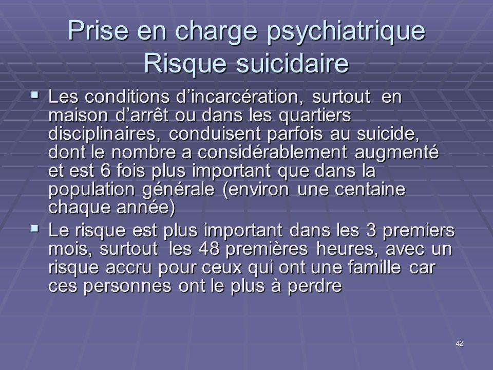 42 Prise en charge psychiatrique Risque suicidaire Les conditions dincarcération, surtout en maison darrêt ou dans les quartiers disciplinaires, condu