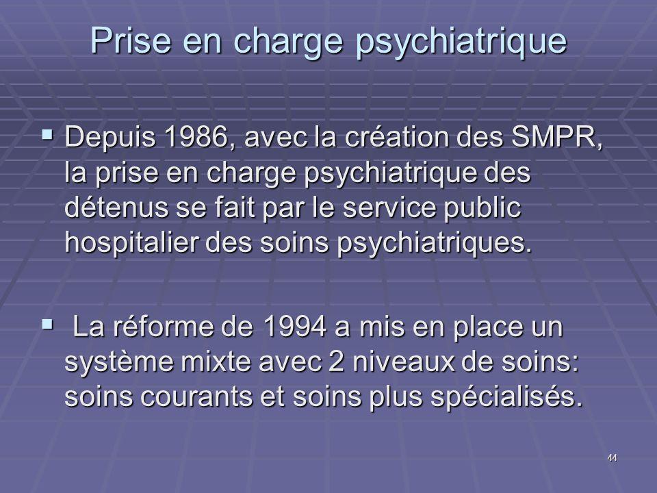 44 Prise en charge psychiatrique Depuis 1986, avec la création des SMPR, la prise en charge psychiatrique des détenus se fait par le service public ho