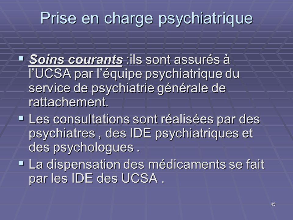 45 Prise en charge psychiatrique Soins courants :ils sont assurés à lUCSA par léquipe psychiatrique du service de psychiatrie générale de rattachement