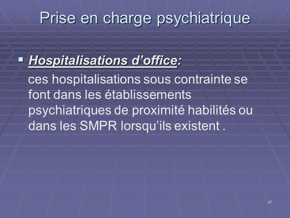 47 Prise en charge psychiatrique Hospitalisations doffice: Hospitalisations doffice: ces hospitalisations sous contrainte se font dans les établisseme