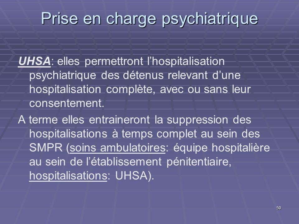 50 Prise en charge psychiatrique UHSA: elles permettront lhospitalisation psychiatrique des détenus relevant dune hospitalisation complète, avec ou sa