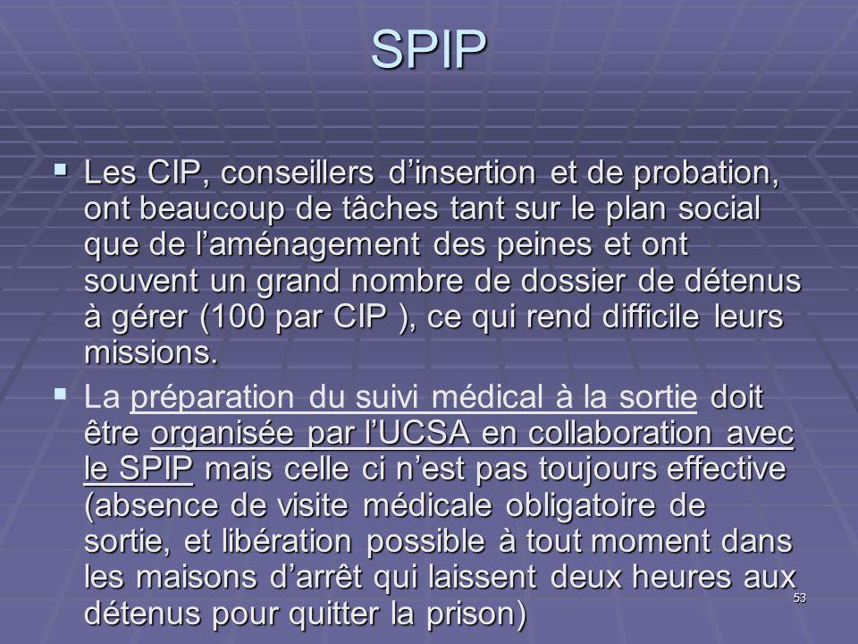 53 SPIP Les CIP, conseillers dinsertion et de probation, ont beaucoup de tâches tant sur le plan social que de laménagement des peines et ont souvent