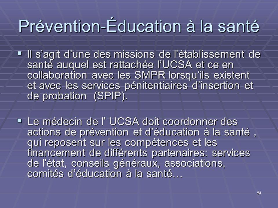 54 Prévention-Éducation à la santé Il sagit dune des missions de létablissement de santé auquel est rattachée lUCSA et ce en collaboration avec les SM