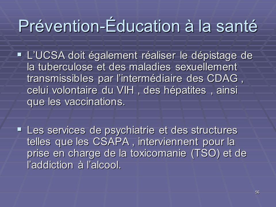 56 Prévention-Éducation à la santé LUCSA doit également réaliser le dépistage de la tuberculose et des maladies sexuellement transmissibles par linter