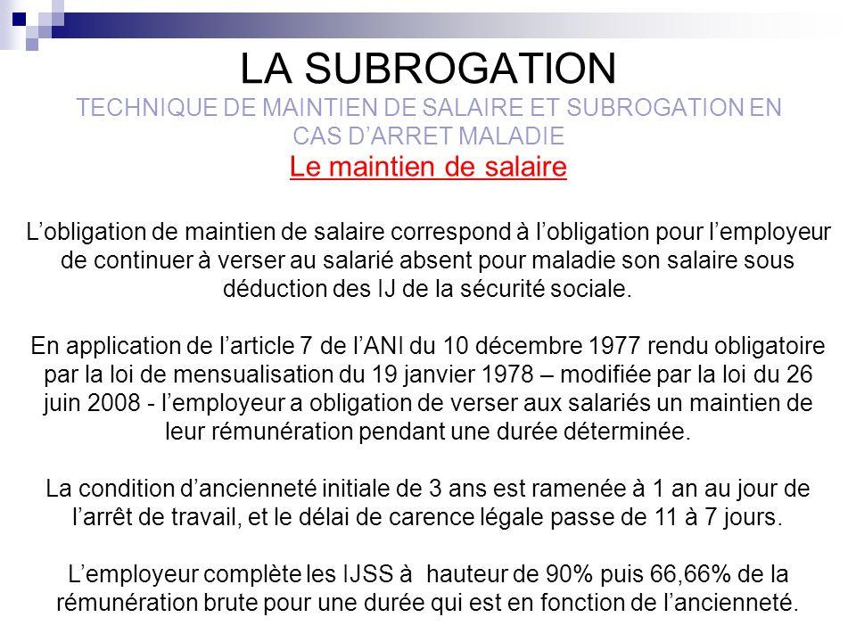 LA SUBROGATION TECHNIQUE DE MAINTIEN DE SALAIRE ET SUBROGATION EN CAS DARRET MALADIE En cas daccord collectif les dispositions relatives au maintien de salaire à la charge de lemployeur peuvent être plus favorables pour le salarié que celles de la loi sur la mensualisation (ancienneté, niveau de maintien de salaire, durée…).