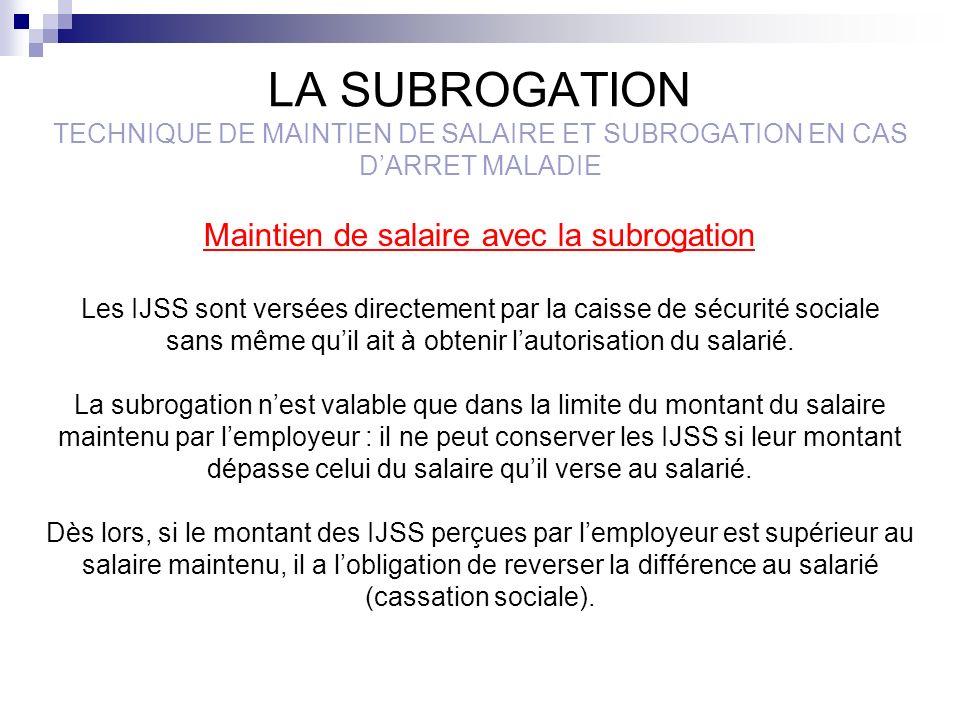 LA SUBROGATION TECHNIQUE DE MAINTIEN DE SALAIRE ET SUBROGATION EN CAS DARRET MALADIE Maintien de salaire avec la subrogation Les IJSS sont versées dir