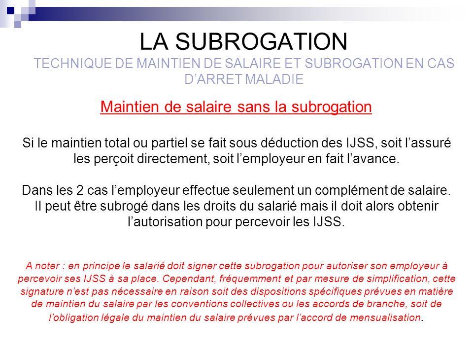 LA SUBROGATION TECHNIQUE DE MAINTIEN DE SALAIRE ET SUBROGATION EN CAS DARRET MALADIE Maintien de salaire sans la subrogation Si le maintien total ou p