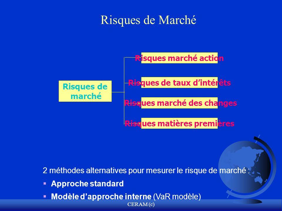 CERAM (c) Risques de Marché 2 méthodes alternatives pour mesurer le risque de marché : Approche standard Modèle dapproche interne (VaR modèle) Risques