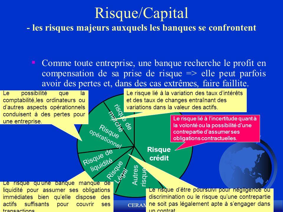 CERAM (c) Risque/Capital - les risques majeurs auxquels les banques se confrontent Comme toute entreprise, une banque recherche le profit en compensat