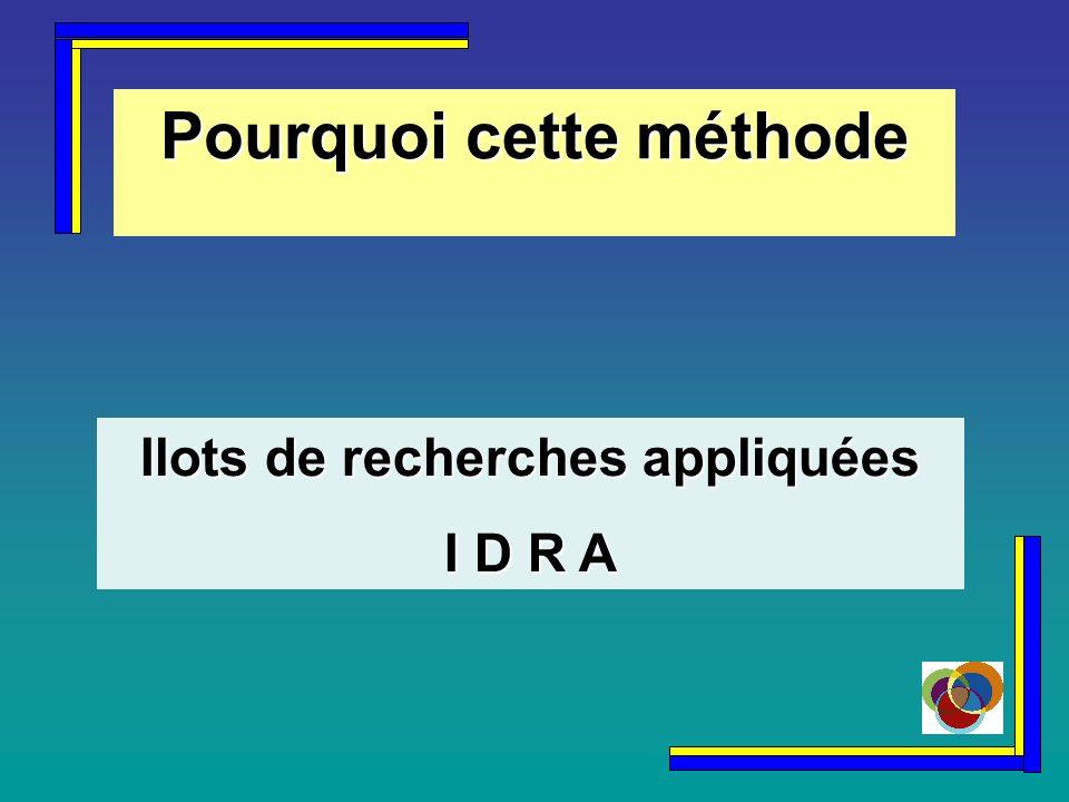 Pourquoi cette méthode Ilots de recherches appliquées I D R A