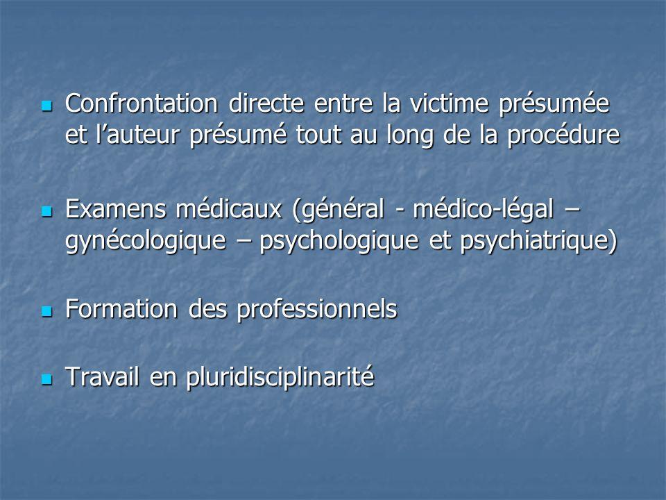 Confrontation directe entre la victime présumée et lauteur présumé tout au long de la procédure Confrontation directe entre la victime présumée et lauteur présumé tout au long de la procédure Examens médicaux (général - médico-légal – gynécologique – psychologique et psychiatrique) Examens médicaux (général - médico-légal – gynécologique – psychologique et psychiatrique) Formation des professionnels Formation des professionnels Travail en pluridisciplinarité Travail en pluridisciplinarité