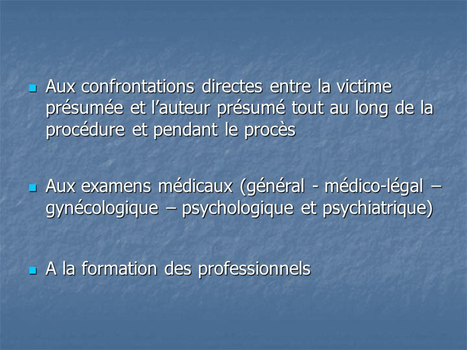Aux confrontations directes entre la victime présumée et lauteur présumé tout au long de la procédure et pendant le procès Aux confrontations directes entre la victime présumée et lauteur présumé tout au long de la procédure et pendant le procès Aux examens médicaux (général - médico-légal – gynécologique – psychologique et psychiatrique) Aux examens médicaux (général - médico-légal – gynécologique – psychologique et psychiatrique) A la formation des professionnels A la formation des professionnels