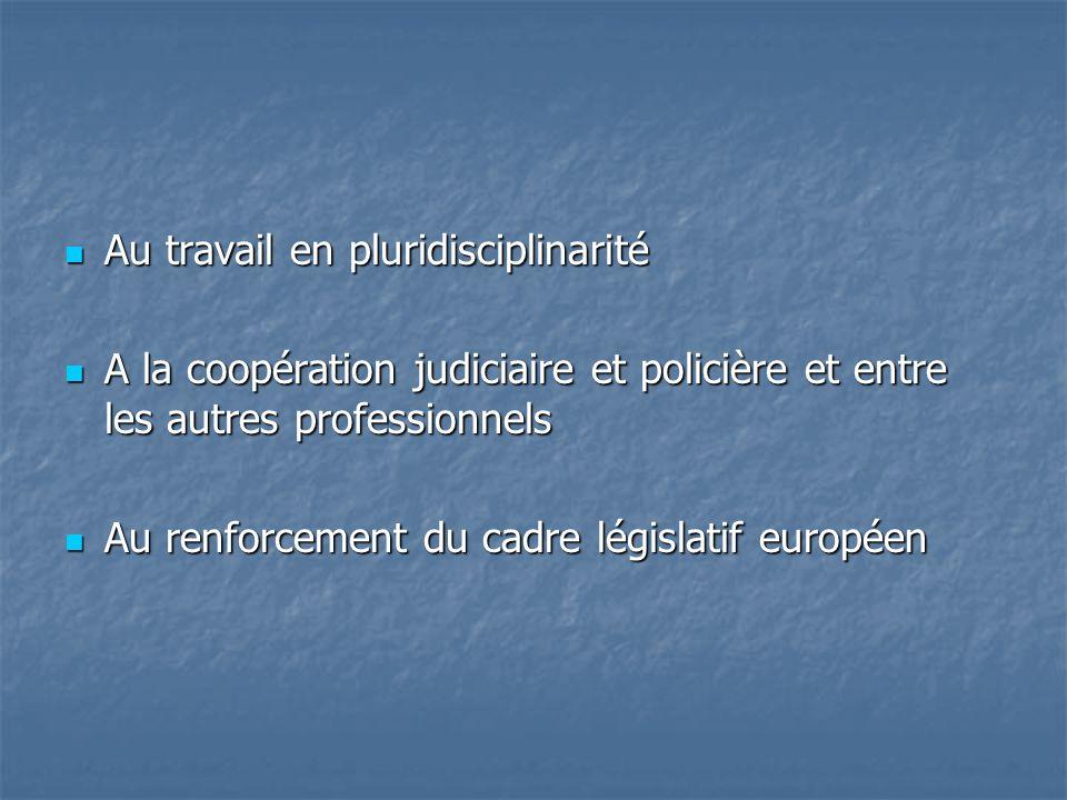 Au travail en pluridisciplinarité Au travail en pluridisciplinarité A la coopération judiciaire et policière et entre les autres professionnels A la coopération judiciaire et policière et entre les autres professionnels Au renforcement du cadre législatif européen Au renforcement du cadre législatif européen