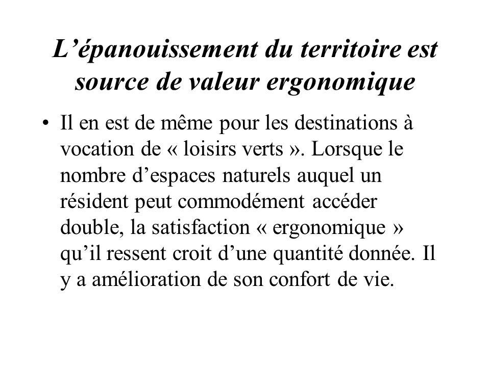 Lépanouissement du territoire est source de valeur ergonomique Il en est de même pour les destinations à vocation de « loisirs verts ». Lorsque le nom