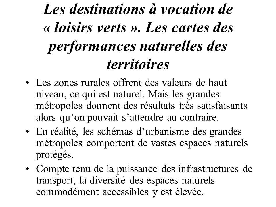 Les destinations à vocation de « loisirs verts ». Les cartes des performances naturelles des territoires Les zones rurales offrent des valeurs de haut