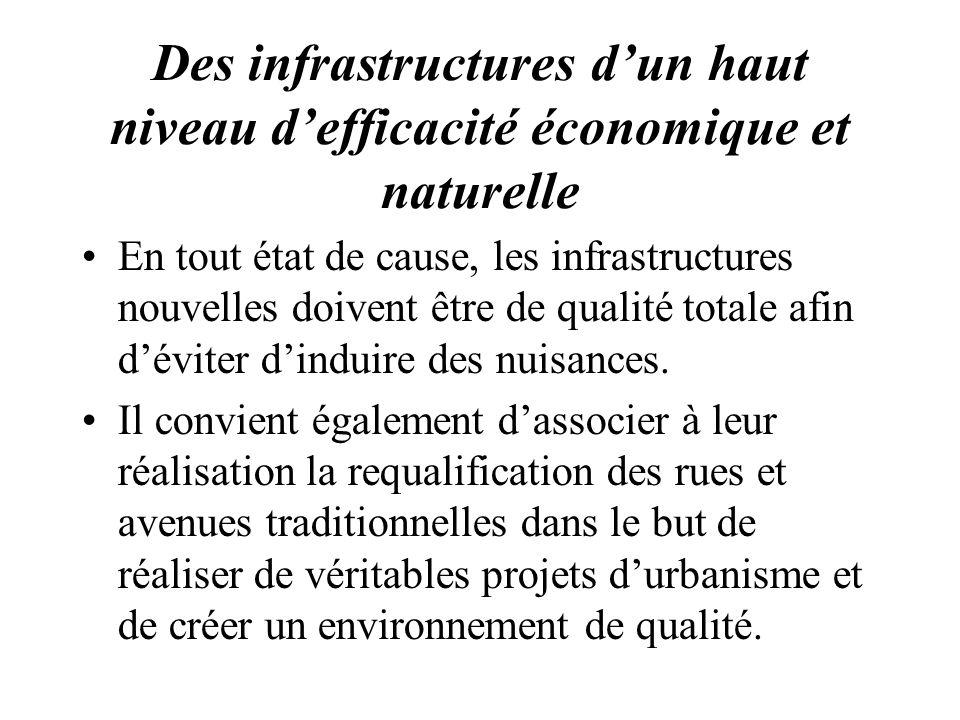 Des infrastructures dun haut niveau defficacité économique et naturelle En tout état de cause, les infrastructures nouvelles doivent être de qualité t