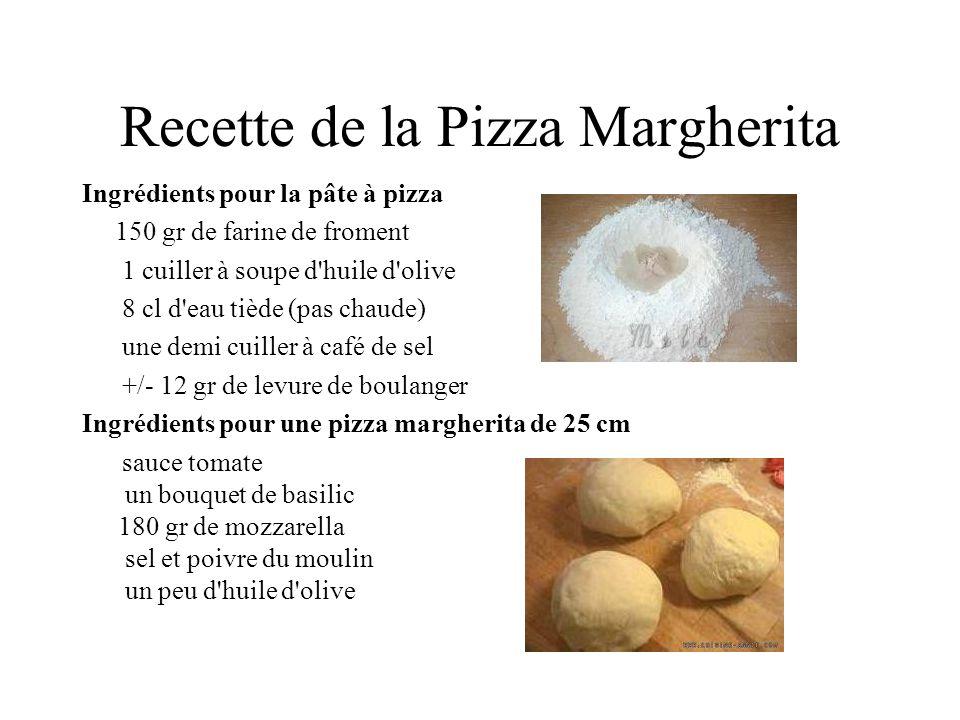 Recette de la Pizza Margherita Ingrédients pour la pâte à pizza 150 gr de farine de froment 1 cuiller à soupe d'huile d'olive 8 cl d'eau tiède (pas ch