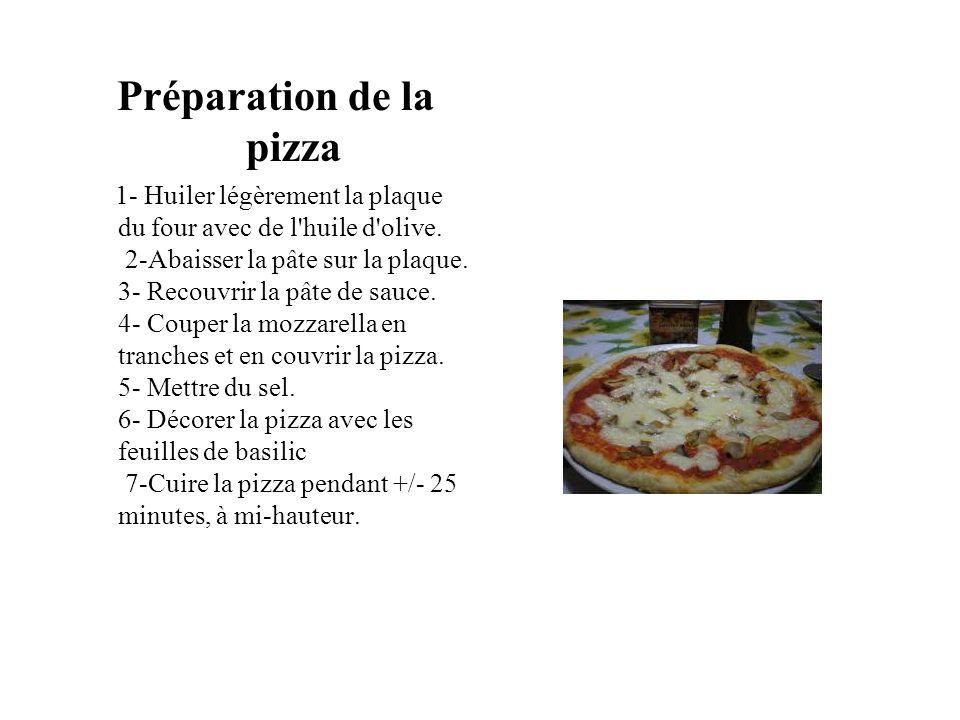 Préparation de la pizza 1- Huiler légèrement la plaque du four avec de l'huile d'olive. 2-Abaisser la pâte sur la plaque. 3- Recouvrir la pâte de sauc