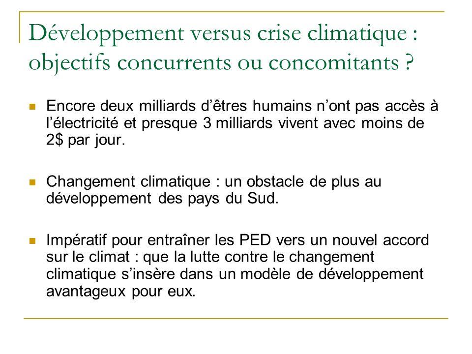 Développement versus crise climatique : objectifs concurrents ou concomitants .
