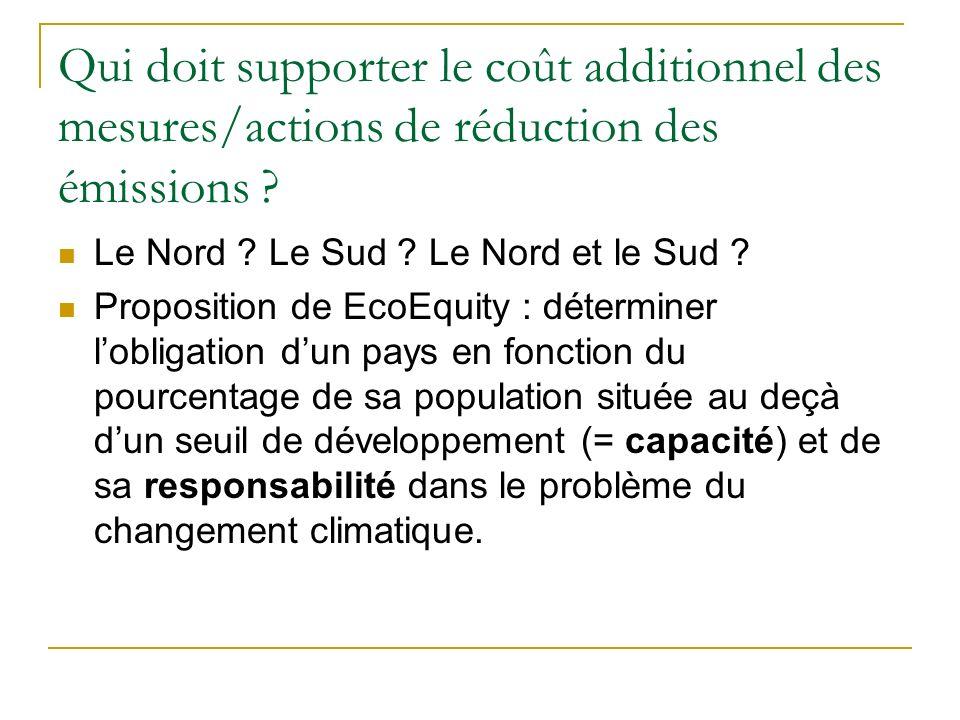 Qui doit supporter le coût additionnel des mesures/actions de réduction des émissions ? Le Nord ? Le Sud ? Le Nord et le Sud ? Proposition de EcoEquit