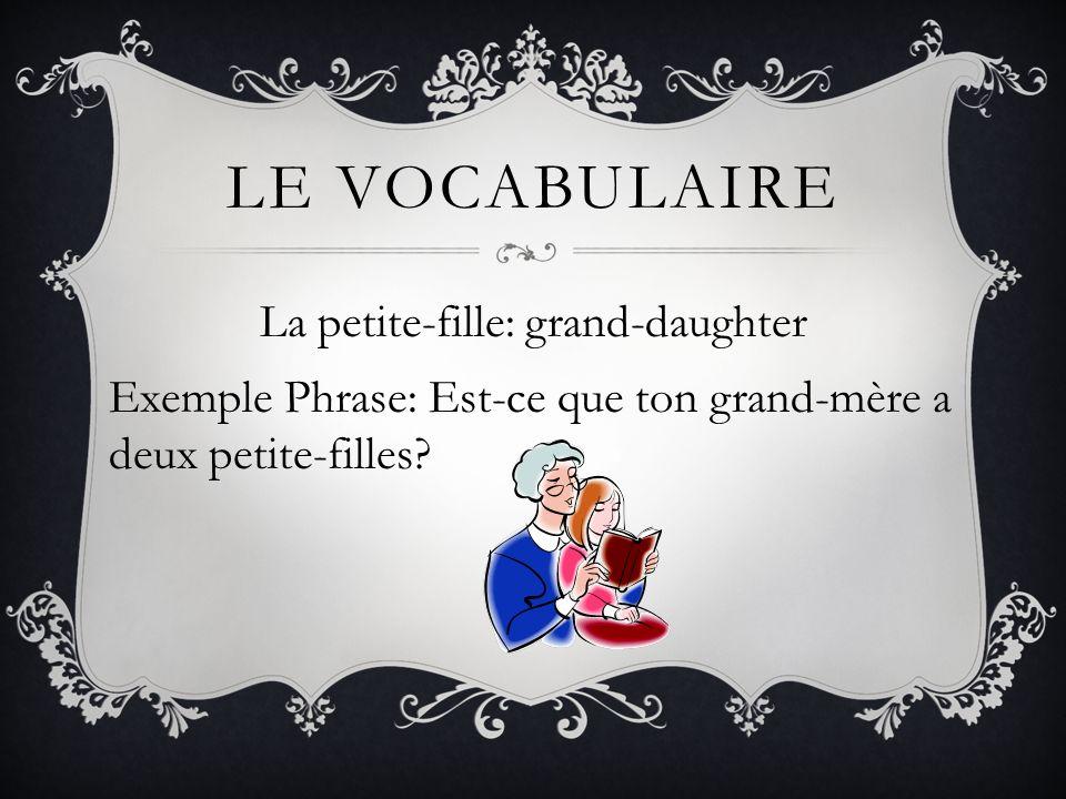 LE VOCABULAIRE La petite-fille: grand-daughter Exemple Phrase: Est-ce que ton grand-mère a deux petite-filles?