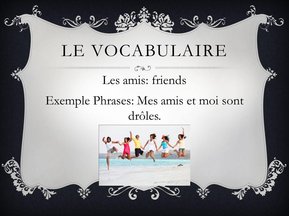 LE VOCABULAIRE Les amis: friends Exemple Phrases: Mes amis et moi sont drôles.