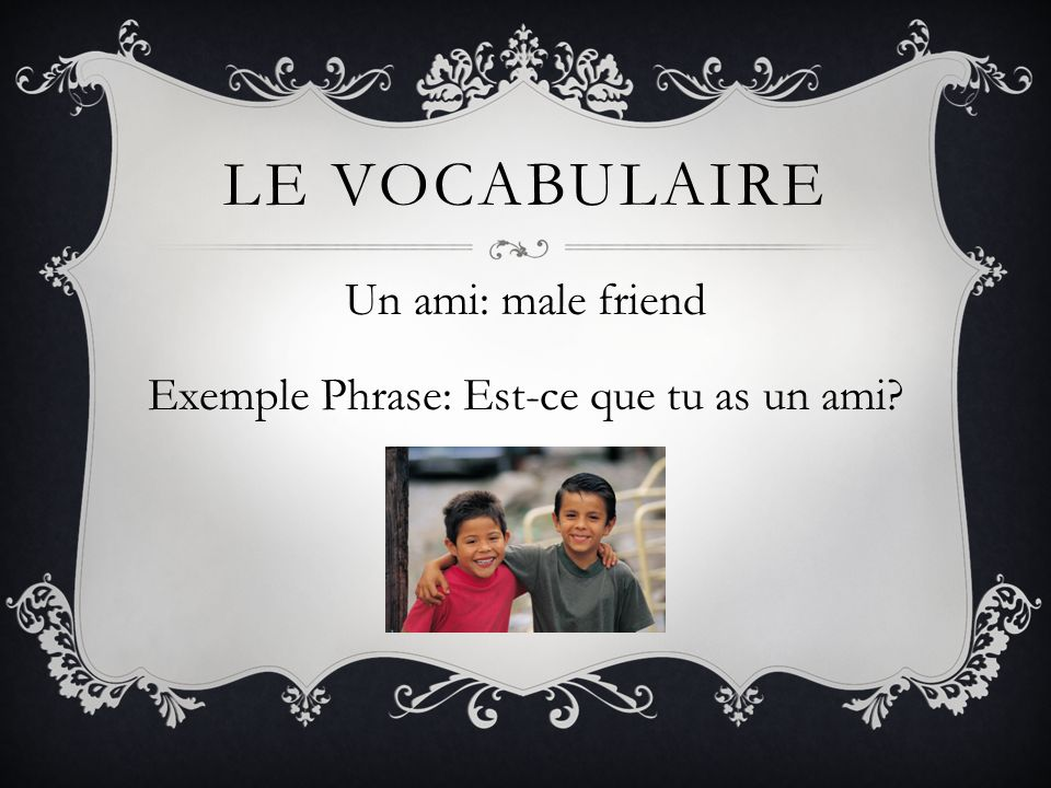 LE VOCABULAIRE Un ami: male friend Exemple Phrase: Est-ce que tu as un ami?