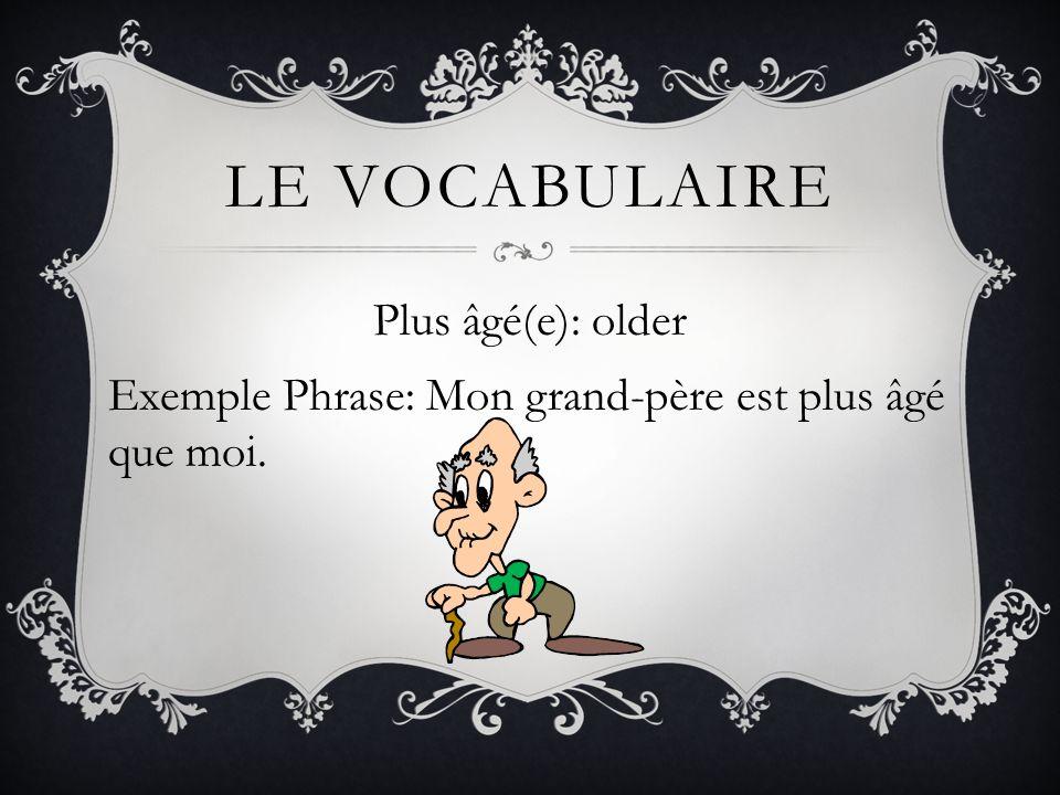 LE VOCABULAIRE Plus âgé(e): older Exemple Phrase: Mon grand-père est plus âgé que moi.