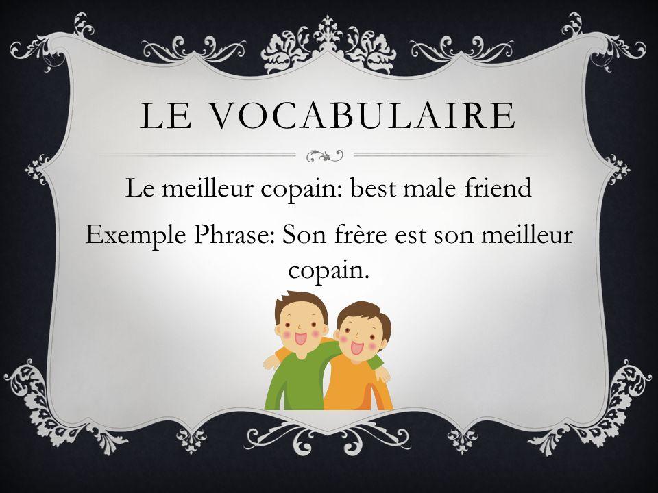 LE VOCABULAIRE Le meilleur copain: best male friend Exemple Phrase: Son frère est son meilleur copain.