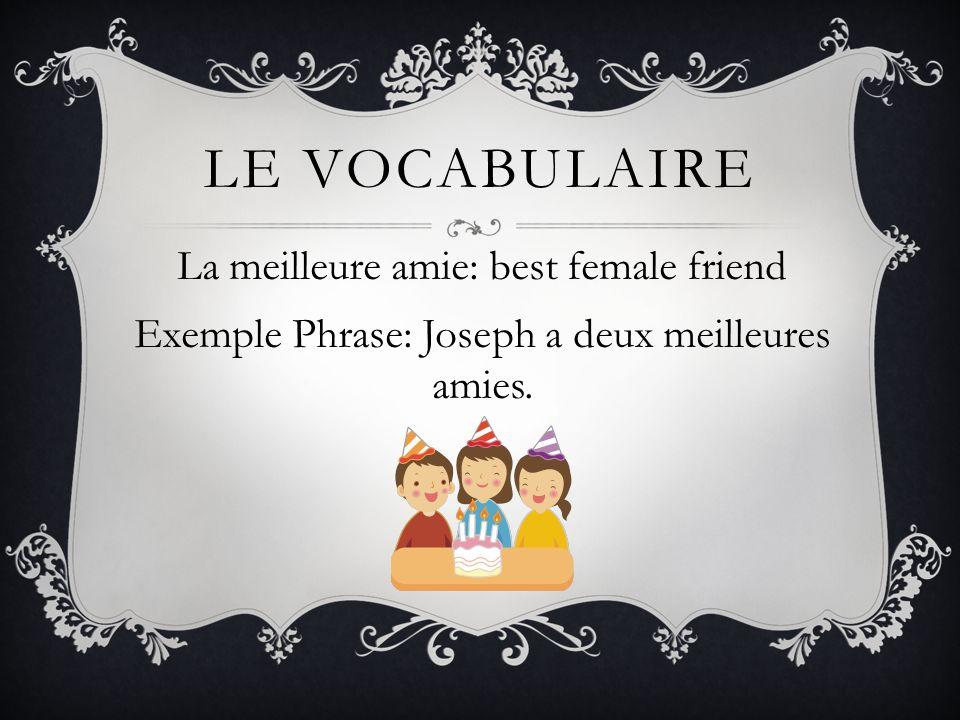 LE VOCABULAIRE La meilleure amie: best female friend Exemple Phrase: Joseph a deux meilleures amies.
