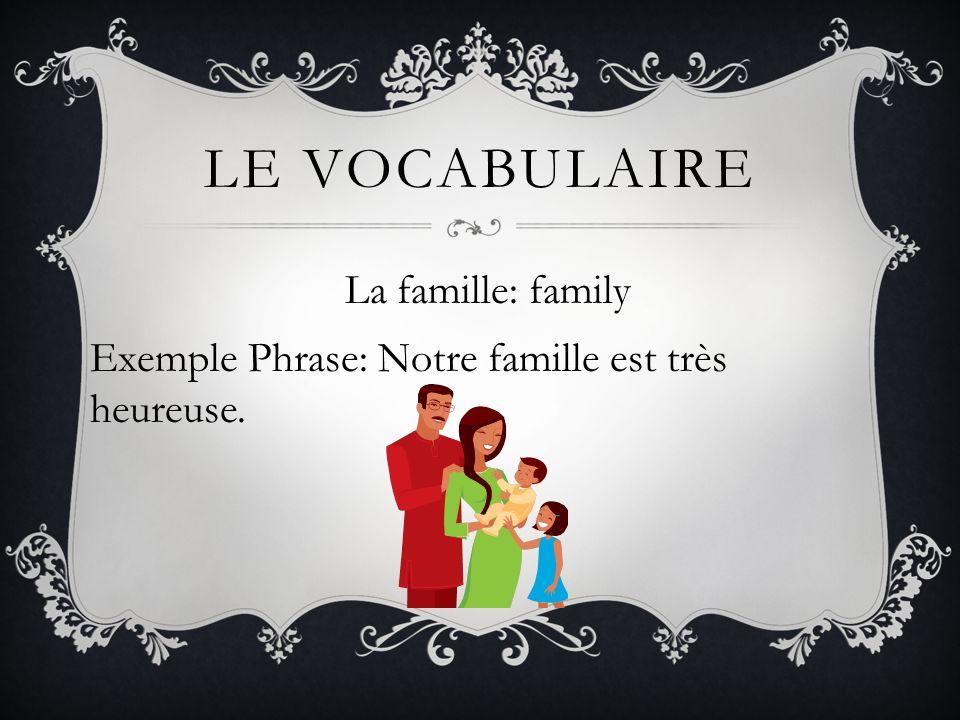 LE VOCABULAIRE La famille: family Exemple Phrase: Notre famille est très heureuse.