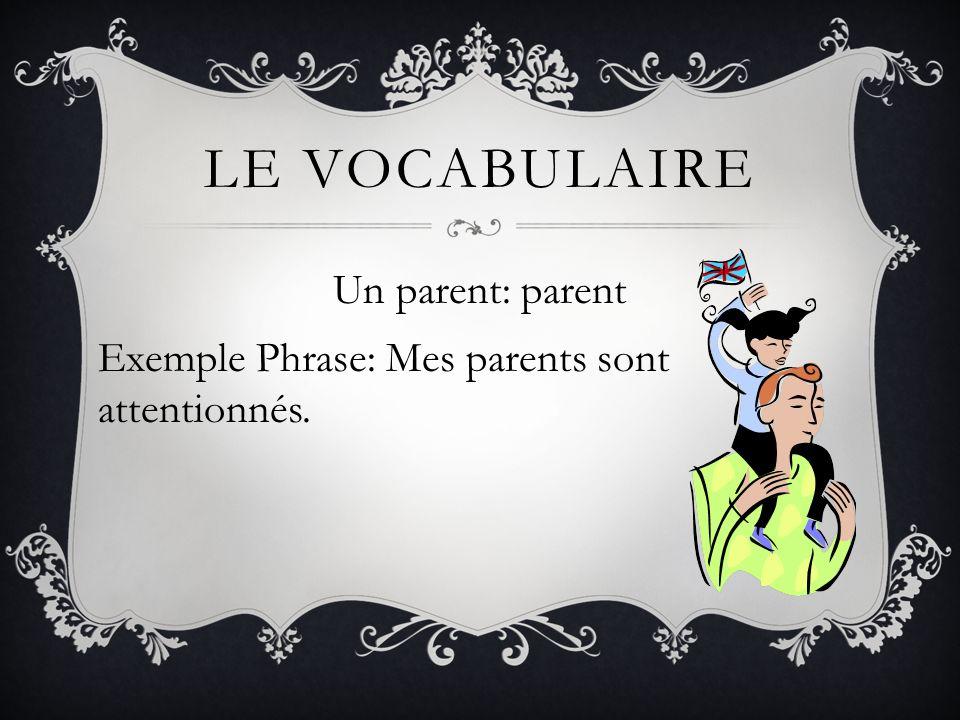 LE VOCABULAIRE Le père: father Exemple Phrase: Mon père est médecin.
