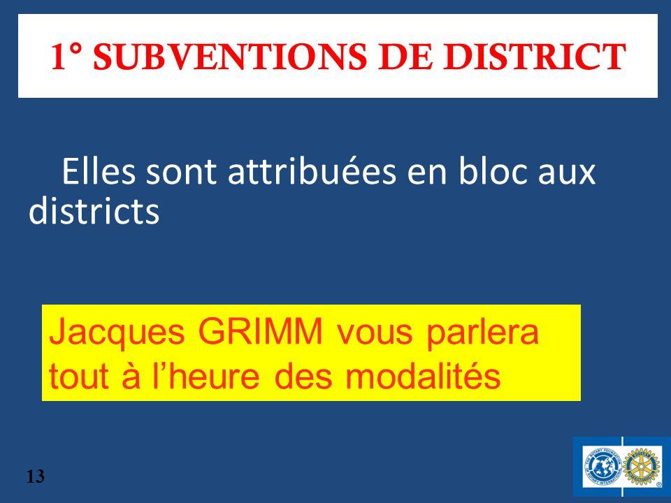 1° SUBVENTIONS DE DISTRICT Elles sont attribuées en bloc aux districts Jacques GRIMM vous parlera tout à lheure des modalités 13