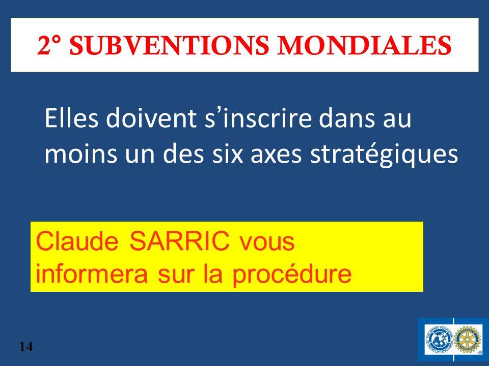 2° SUBVENTIONS MONDIALES Elles doivent sinscrire dans au moins un des six axes stratégiques 14 Claude SARRIC vous informera sur la procédure