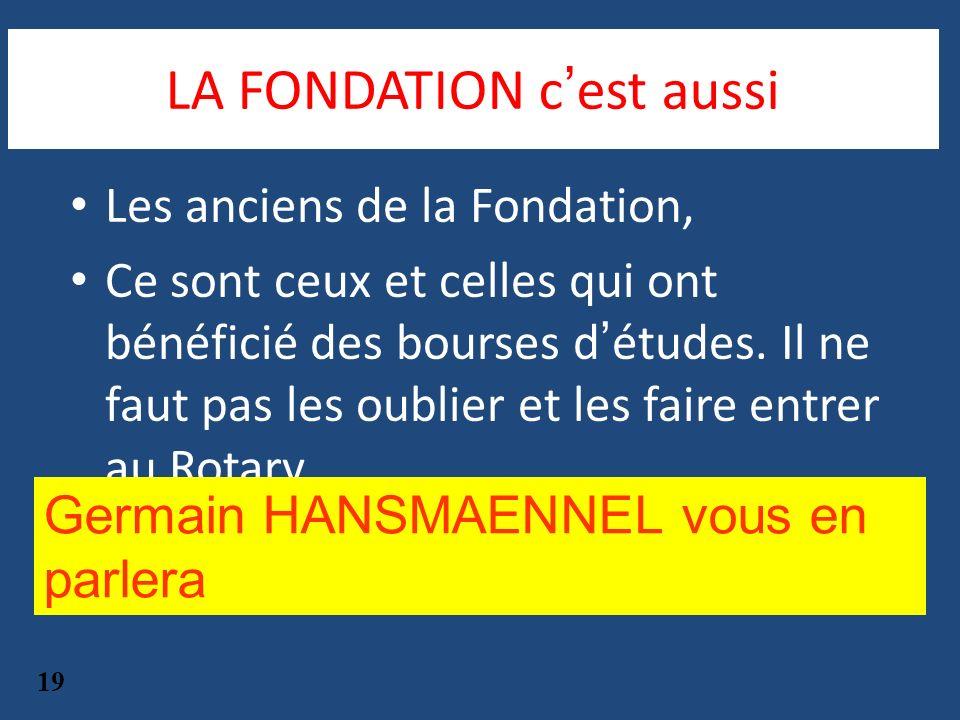 Les anciens de la Fondation, Ce sont ceux et celles qui ont bénéficié des bourses détudes. Il ne faut pas les oublier et les faire entrer au Rotary 19