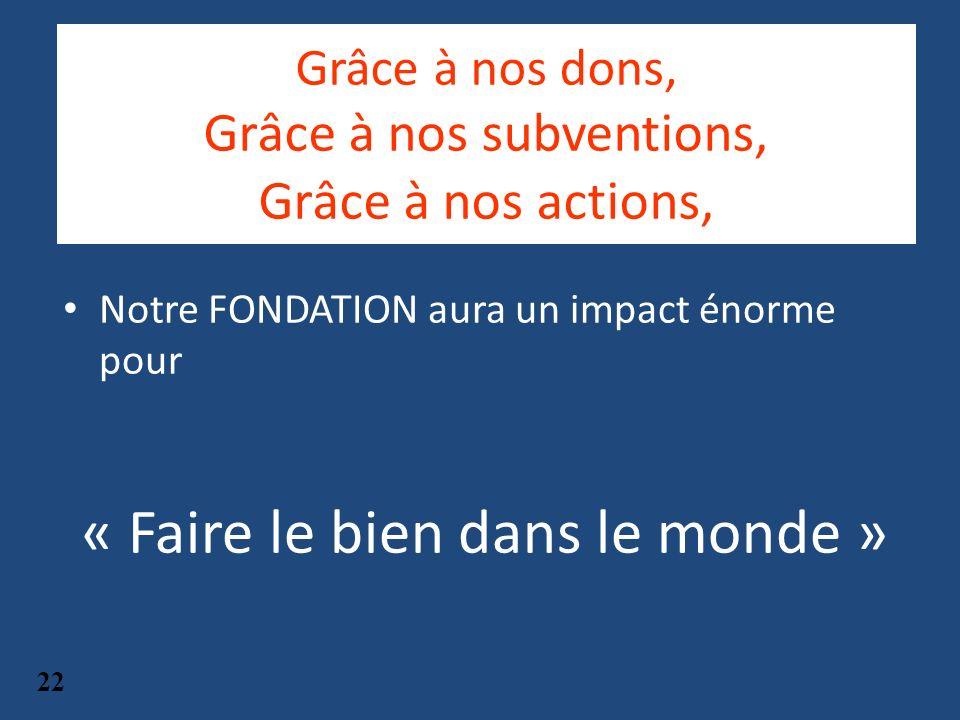 Grâce à nos dons, Grâce à nos subventions, Grâce à nos actions, Notre FONDATION aura un impact énorme pour « Faire le bien dans le monde » 22